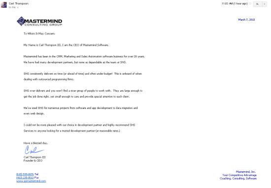 Testimonial-For-CRM-Work-SNSSystem.com